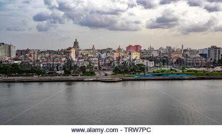 Panoramic view of Havana shot from the fortress of San Carlos de la Cabaña which is on the other side of the bay. - Stock Photo