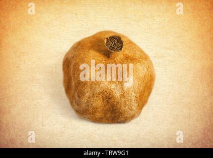 Dry pomegranate on vintage background - Stock Photo