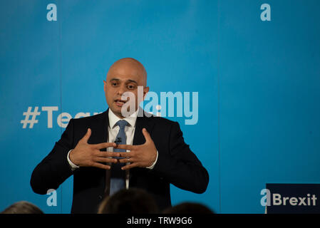 London, UK. 12th June, 2019. Home Secretary Sajid Javid launches his bid to be leader of the Conservative and Unionist Party and Prime Minister. Credit: Claire Doherty/Alamy Live News - Stock Photo