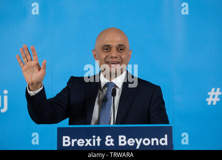 London, UK. 12th June 2019 Home Secretary, Sajid Javid, launches his campaign to be Leader of the Conservative party. His slogan is 'Brexit and Beyond'. Credit: Tommy London/Alamy Live News - Stock Photo