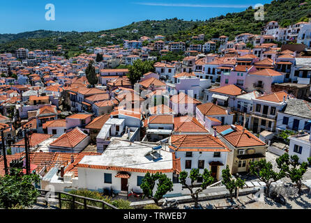 Rooftops in Skopelos Town, Northern Sporades Greece. - Stock Photo