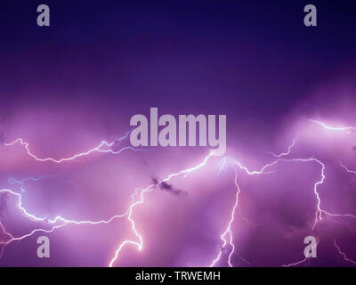 Lightning thunderstorm flash over the night sky. Concept on topic weather - - Stock Photo