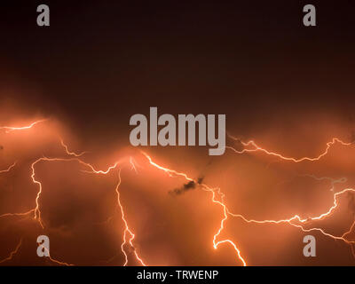 Lightning storm,  thunderstorm flash over the night sky. stormy weather - Stock Photo