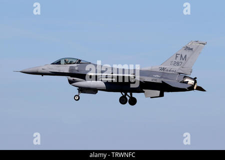 USAF Reserve F-16C from the 93rd Fighter Squadron at Homestead AFRES base in Florida landing at RAF Lakenheath during the units 2019 deployment. - Stock Photo