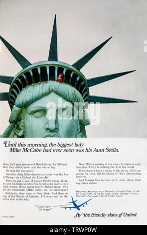 An advertisement for United Airlines in a 1966 American magazine. - Stock Photo