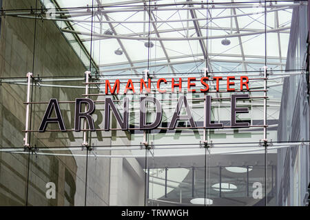 Entrance sign above main glass Exchange Square entrance to the Manchester Arndale Shopping Centre, England, UK - Stock Photo