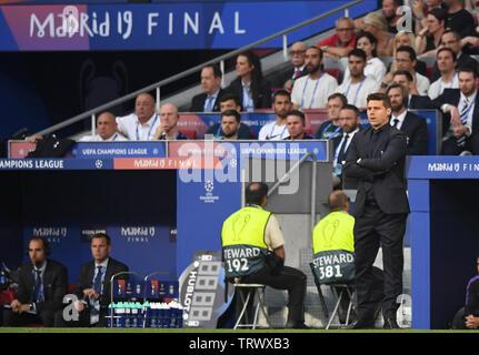 MADRID, SPAIN - JUNE 1, 2019: Tottenham manager Mauricio Pochettino pictured during the 2018/19 UEFA Champions League Final between Tottenham Hotspur (England) and Liverpool FC (England) at Wanda Metropolitano. - Stock Photo