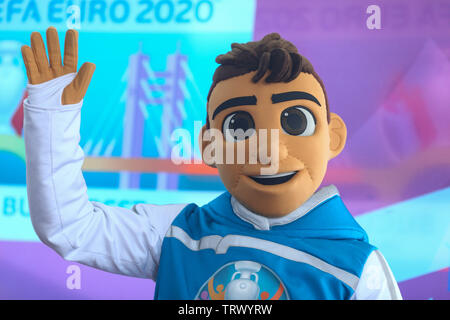 Bucharest, Romania - May 24, 2019: Skillzy, the official mascot for the Euro 2020 football tournament, is seen during a presentation at the National A - Stock Photo
