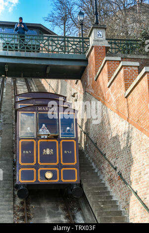 BUDAPEST, HUNGARY - MARCH 2018: Carriages on the steep Budapest Castle Hill Funicular railway or 'Budavári Sikló'. - Stock Photo