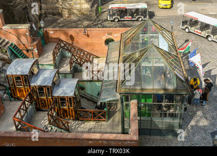 BUDAPEST, HUNGARY - MARCH 2018: Aerial view of the ticket office and base station of the Budapest Castle Hill Funicular railway or 'Budavári Sikló'. - Stock Photo