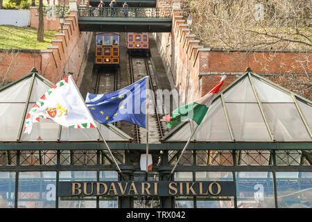 BUDAPEST, HUNGARY - MARCH 2018: Sign above the entrance of the ticket office of the Budapest Castle Hill Funicular railway or 'Budavári Sikló'. - Stock Photo
