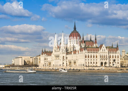 BUDAPEST, HUNGARY - MARCH 2018: The Parliament building in Budapest city centre - Stock Photo