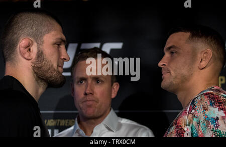 London, UK. 12th June, 2019. UFC lightweight champion Khabib Nurmagomedov and interim champion Dustin Poirier take part in a press conference in central London to discuss their upcoming title bout UFC 242 which is to be held in Abu Dhabi. Press conference held at Hotel Café Royal, 68 Regent Street, London on 12 June 2019. Photo by Andy Rowland. Credit: PRiME Media Images/Alamy Live News Credit: PRiME Media Images/Alamy Live News - Stock Photo