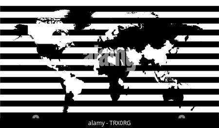 World map black and white stripes - Stock Photo