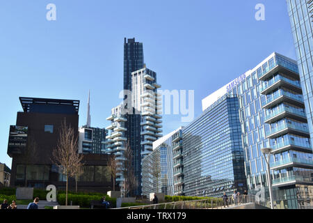 Milan/Italy - March, 28, 2015: Modern highly technological look of the new managerial district Porta Nuova. - Stock Photo