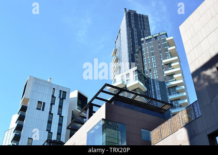 Modern highly technological look of the new residences of the district Porta Nuova in Milan. - Stock Photo