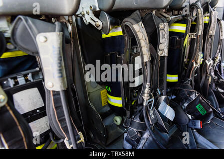 Valencia, Spain - June 8, 2019: Firemen's air cylinders to breathe clean air in case of fire. - Stock Photo