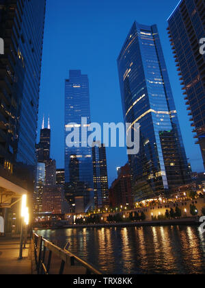 CHICAGO, IL  - JULY 28, 2018: Some of the famous skyscrapers of Chicago, including the sparkling River Point,  stretch out along the length of the Chi - Stock Photo