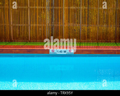No Diving Sign At A Community Swimming Pool Stock Photo
