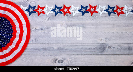 American banner and stars on weathered wood - Stock Photo