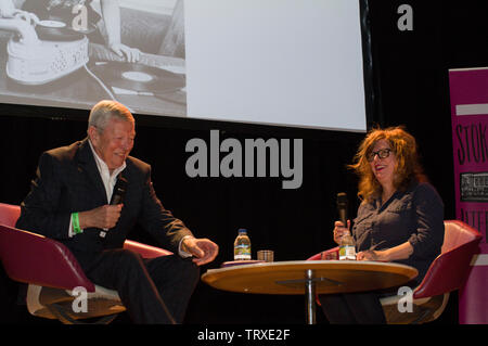 Alan Johnson MP under Blair and Brown discusses his memoirs with Suzanne Moore, In My Life, a Music Memoir at the Stoke Newington Literary Festival - Stock Photo