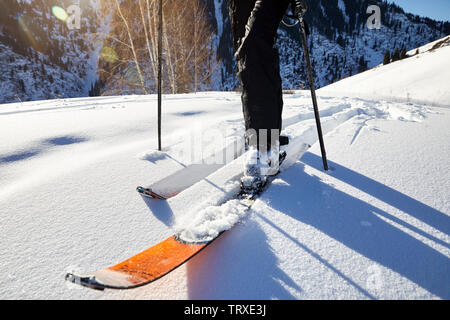 Man skiing on fresh powder snow at the mountains close up shot, low angle. - Stock Photo