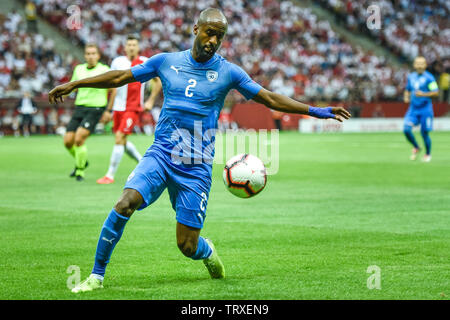 WARSAW, POLAND - JUNE 10, 2019: Qualifications Euro 2020  match Poland - Israel 4:0. In action Eli Dasa. - Stock Photo