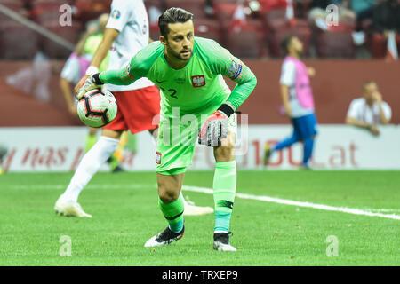 WARSAW, POLAND - JUNE 10, 2019: Qualifications Euro 2020  match Poland - Israel 4:0. In action goalkeeper Lukasz Fabianski. - Stock Photo