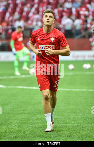 WARSAW, POLAND - JUNE 10, 2019: Qualifications Euro 2020  match Poland - Israel 4:0. Krzysztof Piatek during warm-up. - Stock Photo