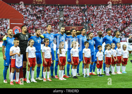 WARSAW, POLAND - JUNE 10, 2019: Qualifications Euro 2020  match Poland - Israel 4:0. Team of Irael - Stock Photo