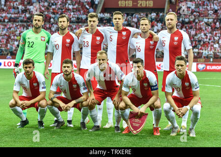 WARSAW, POLAND - JUNE 10, 2019: Qualifications Euro 2020  match Poland - Israel 4:0. Team of Poland. - Stock Photo