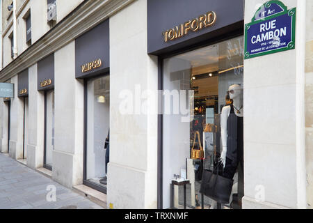 PARIS, FRANCE - JULY 22, 2017: Tom Ford fashion luxury store in Paris, France. - Stock Photo