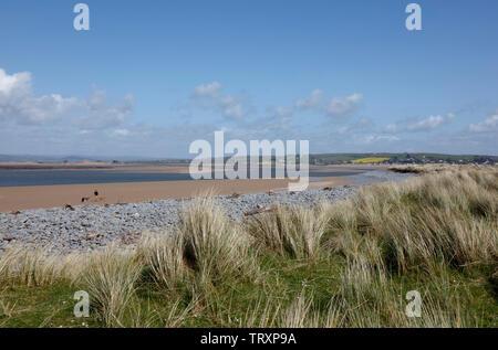 View up the Taw Torridge Estuary from Northam Burrows, Devon, England, UK - Stock Photo