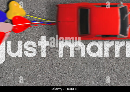Wedding honeymoon concept poster card. Top view of red classic car and balloons in motion blurred. Letters Just married as a road marks on surface - Stock Photo