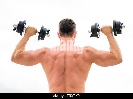 man sportsman weightlifting. steroids. fitness and sport equipment. Muscular back man exercising in morning with barbell. athletic body. Dumbbell gym. fit your body and lose weight. Balance your life. - Stock Photo