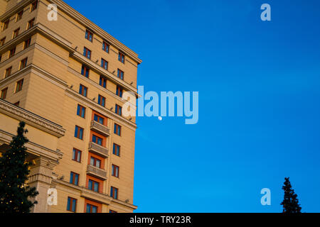 Moscow, Russia, 16th, February, 2019. A corner view of the Four Seasons Hotel in Moscow. - Stock Photo