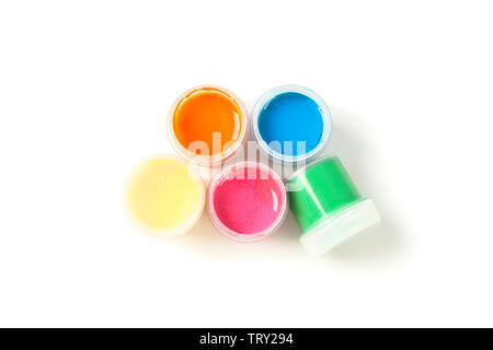 Color gouache paint cans isolated on white background, top view - Stock Photo
