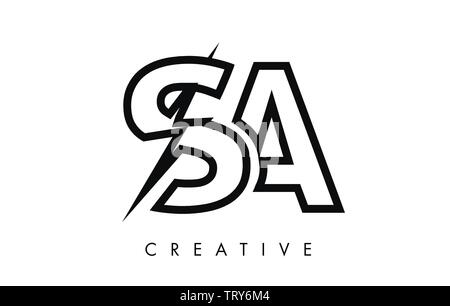 SA Letter Logo Design With Lighting Thunder Bolt. Electric Bolt Letter Logo Vector Illustration. - Stock Photo