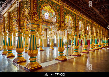 colorful columns in Private Durbar Hall, interior shot of Mysore Palace or ambavilas palace, Mysore, Hassan, Karnataka, India - Stock Photo