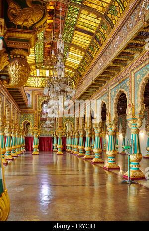 colorful columns in Private Durbar Hall, interior shot of Mysore Palace or ambavilas palace, Mysore, Hassan, Karnataka, India - Stock Photo
