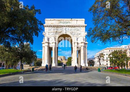 GENOA, ITALY - MARCH 9, 2019: Victory Square, Piazza della Vittoria with Arch of the Fallen soldiers in the city center of Genoa, Italy - Stock Photo
