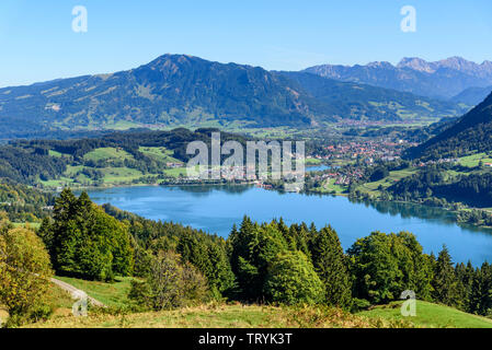 Allgäu from above - Immenstadt, Alpsee, and Grünten - Stock Photo
