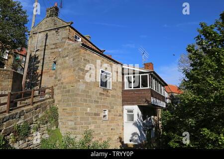 Old Bakery Tea Rooms, Chapel Street, Robin Hood's Bay, Borough of Scarborough, North Yorkshire, England, Great Britain, United Kingdom, UK, Europe - Stock Photo