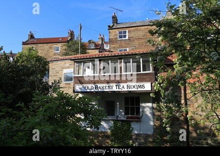 Old Bakery Tea Rooms, Chapel Street, Robin Hood's Bay, Borough of Scarborough, North Yorkshire, England, Great Britain, United Kingdom, UK, Europe - Stock Photo