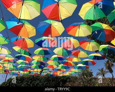 Display of umbrellas above a square in the city of Famagusta in the Turkish Republic of Northern Cyprus. - Stock Photo
