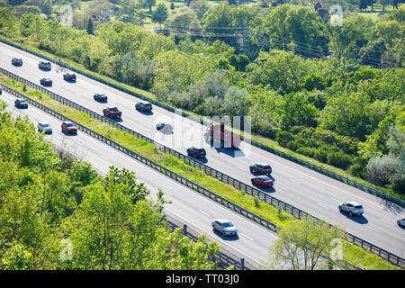Hamilton, Ontario / Canada - June 2019: Traffic Along Highway 403 Between Hamilton And Brantford - Stock Photo