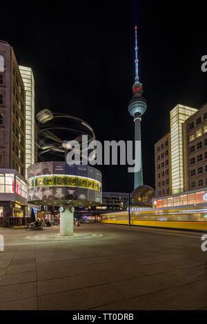The world Clock at Alexanderplatz in Berlin - Stock Photo