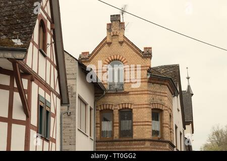 View of typical german half-timbered houses (Moselkern, Germany, Europe) - Stock Photo