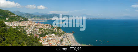 Panorama of the Gulf of Salerno, seen from the city of Raito, during a sunny summer day - Stock Photo