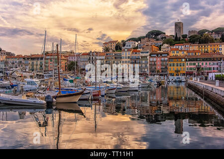 Cannes viewed from the old harbor - Stock Photo